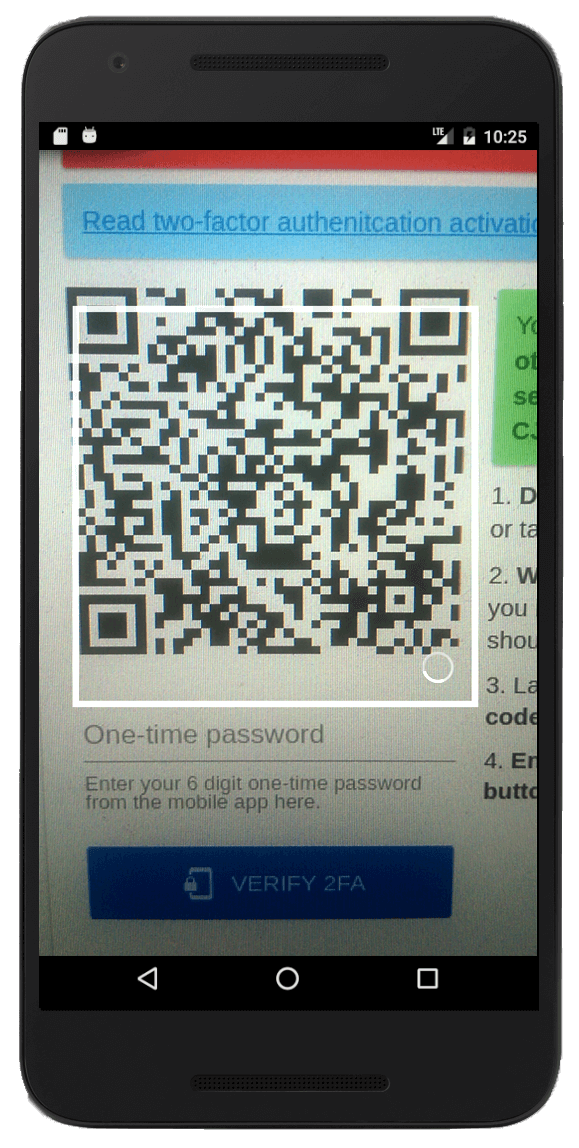 phone scanning qr code from 2fa page